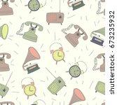 retro phone  alarm  radio and... | Shutterstock .eps vector #673235932