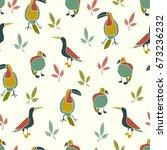 exotic birds seamless pattern.... | Shutterstock .eps vector #673236232
