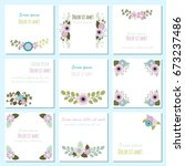 set with cute vector cards with ... | Shutterstock .eps vector #673237486