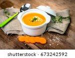 carrot soup | Shutterstock . vector #673242592