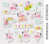 sweet girl stickers set for... | Shutterstock .eps vector #673246216