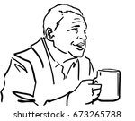 the man is holding a mug in his ... | Shutterstock .eps vector #673265788