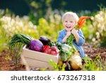 cute little boy holding a bunch ... | Shutterstock . vector #673267318