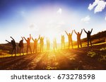 big group of happy friends... | Shutterstock . vector #673278598