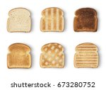 set of six slices toast bread... | Shutterstock . vector #673280752
