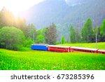 passenger train moves from... | Shutterstock . vector #673285396