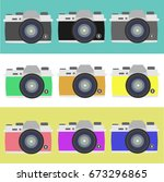 9 beautiful camera icons and... | Shutterstock .eps vector #673296865