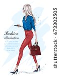 beautiful fashion woman walking.... | Shutterstock .eps vector #673302505
