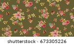 seamless floral pattern in... | Shutterstock .eps vector #673305226