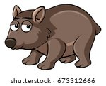 brown wombat with sad face... | Shutterstock .eps vector #673312666