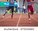 never give up  disabled... | Shutterstock . vector #673316062
