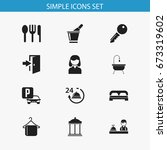 set of 12 editable plaza icons. ...
