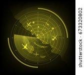 yellow radar screen with... | Shutterstock .eps vector #673320802
