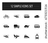 set of 12 editable... | Shutterstock .eps vector #673321516