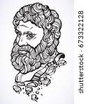 heracles. the mythological hero ... | Shutterstock .eps vector #673322128