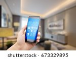 mobile phone with apps on smart ... | Shutterstock . vector #673329895