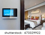 digital screen on wall with... | Shutterstock . vector #673329922