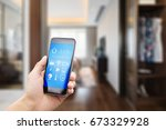 mobile phone with apps on smart ... | Shutterstock . vector #673329928