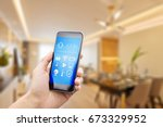 mobile phone with apps on smart ... | Shutterstock . vector #673329952