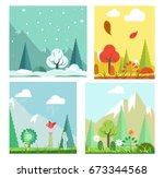 four seasons nature landscape... | Shutterstock .eps vector #673344568