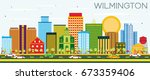 wilmington skyline with color... | Shutterstock . vector #673359406