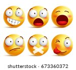 smileys vector set. smiley face ... | Shutterstock .eps vector #673360372