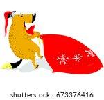 christmas dog character in... | Shutterstock .eps vector #673376416