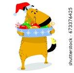 christmas dog character. cute... | Shutterstock .eps vector #673376425