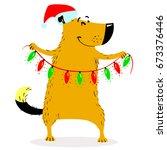 christmas dog character.... | Shutterstock .eps vector #673376446