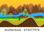 vector cartoon nature landscape ... | Shutterstock .eps vector #673377976