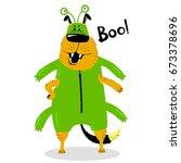 halloween dog character in the... | Shutterstock .eps vector #673378696
