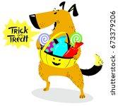 halloween dog character. cute... | Shutterstock .eps vector #673379206