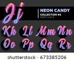 vector neon character typeset.... | Shutterstock .eps vector #673385206