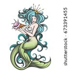 beauty blue haired siren... | Shutterstock .eps vector #673391455