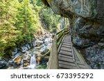 footpath in gorge de la diosaz  ... | Shutterstock . vector #673395292