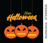 happy helloween logo vector... | Shutterstock .eps vector #673400326