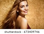 model blonde girl. beautiful... | Shutterstock . vector #673409746