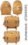 wooden barrel  cask or tun. 3d... | Shutterstock . vector #673434292