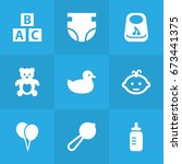 set of 9 kid icons set... | Shutterstock .eps vector #673441375