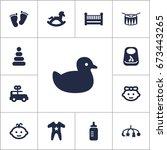 set of 13 kid icons set... | Shutterstock .eps vector #673443265