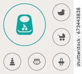 set of 6 baby icons set... | Shutterstock .eps vector #673443838