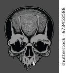 decorative human skull. design... | Shutterstock .eps vector #673453588