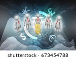 3d people around dollar sign | Shutterstock . vector #673454788