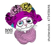vector white cat with wreath ...   Shutterstock .eps vector #673458646
