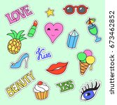 fashion patch badges. cartoon... | Shutterstock . vector #673462852