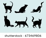 silhouettes of cats  | Shutterstock .eps vector #673469806