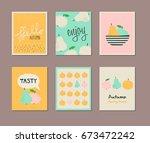 set of decorative autumn cards | Shutterstock .eps vector #673472242