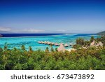 view of moorea island coral...   Shutterstock . vector #673473892
