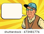 joyful old man in a baseball...   Shutterstock .eps vector #673481776