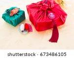 korean traditional gift box on... | Shutterstock . vector #673486105